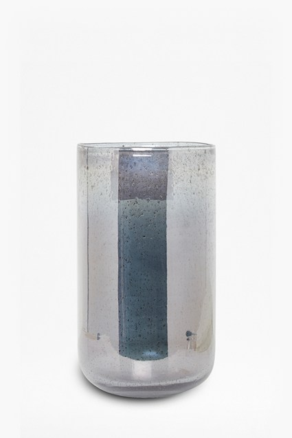 Large Blue Recycled Glass Cylinder Vase