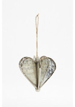 Silver Helix Heart Ornament