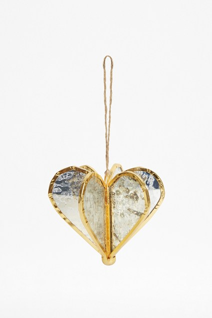 Gold Helix Heart Ornament