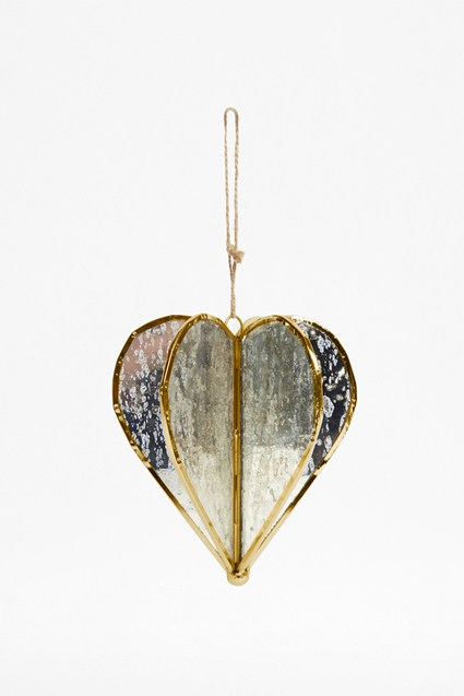 Large Gold Helix Heart Ornament by French Connection