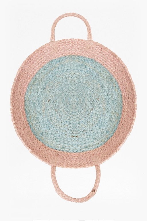 blush and blue wall basket