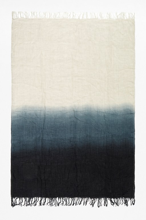 onyx linen dip dye throw