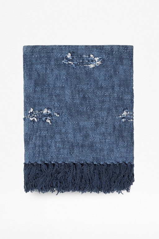 recycled denim blue throw