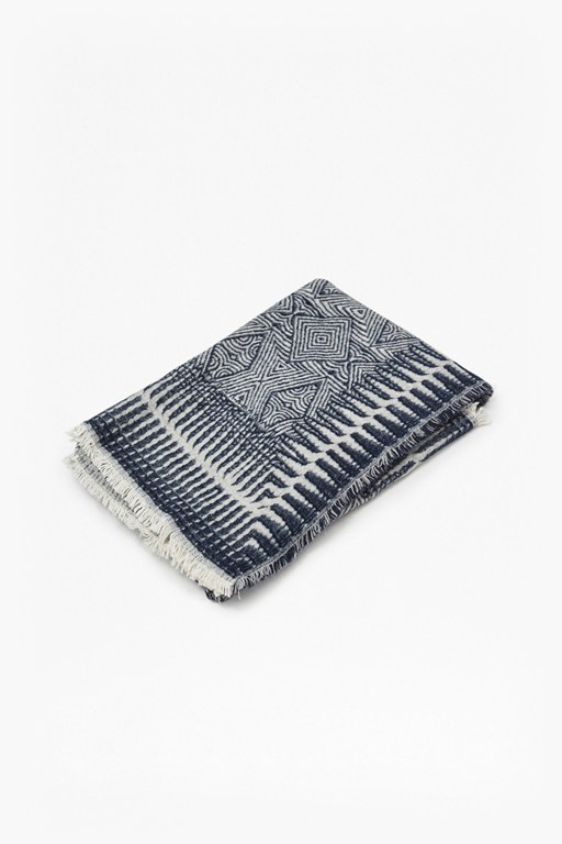 tribal navy patterned throw