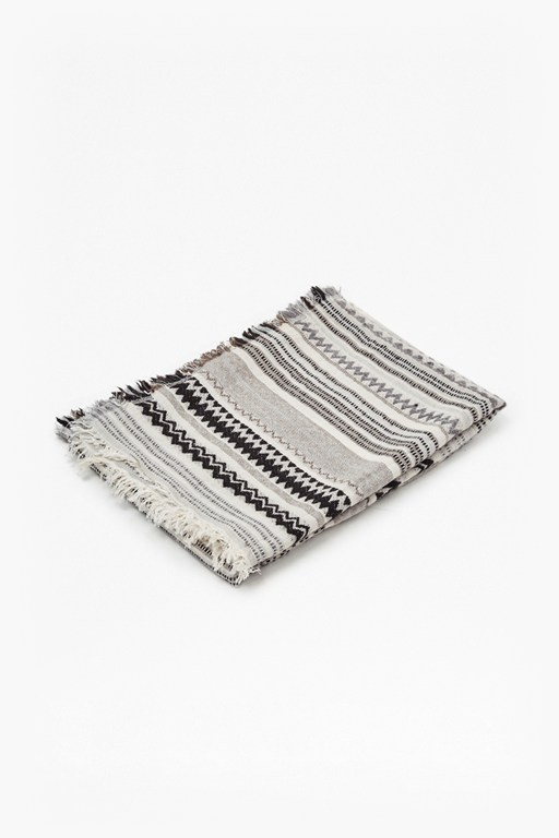 grey aztec patterned throw