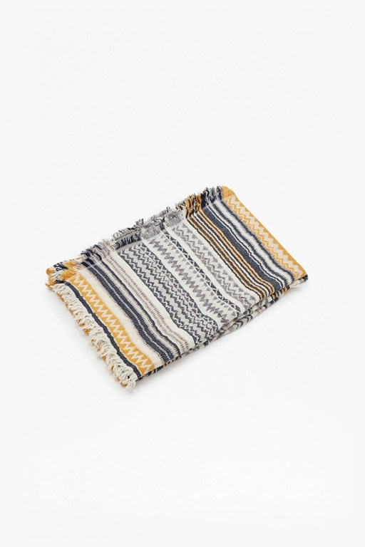 Complete the Look Mustard Aztec Patterned Throw
