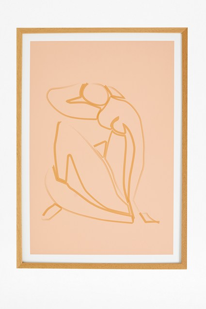 Female Outline Print in Hardwood Frame 50X70