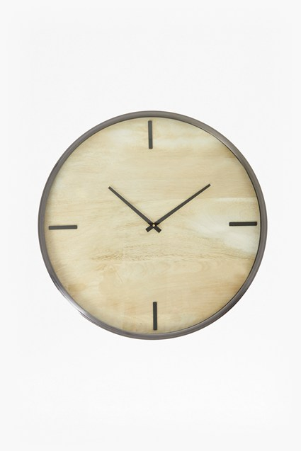 Large Blonde Wooden Clock