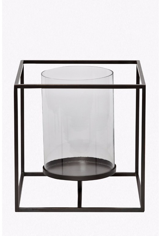 Large Cube Hurricane Candle Holder