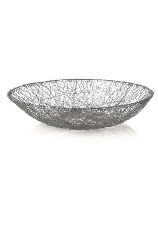 Hand knitted mesh basket