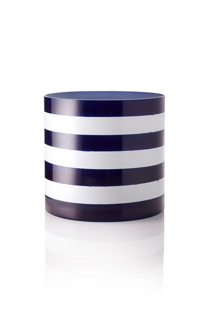Blue and White stripe vase
