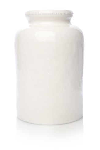 Beaded Lip White Vase