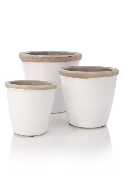 Three Rustic Terracotta Pots