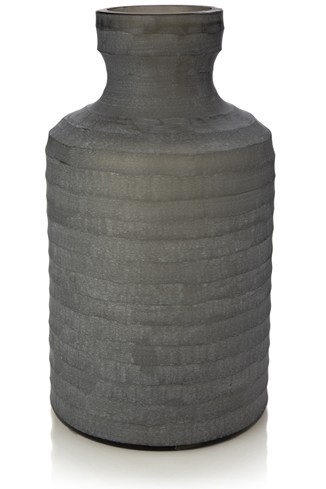 Sandblasted Glass Ridges Vase