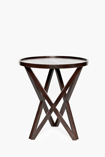 Burnt Wood Pyloned Side Table