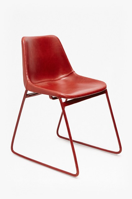 Red Leather School Chair