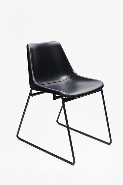 Navy Leather School Chair