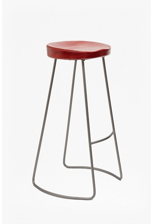 Red Roger Bar Stool Leather Seat