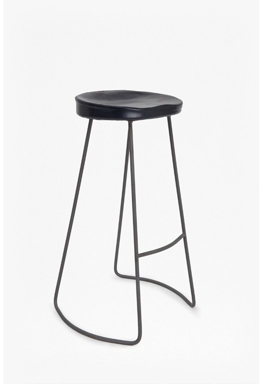 Navy Roger Bar Stool Leather Seat