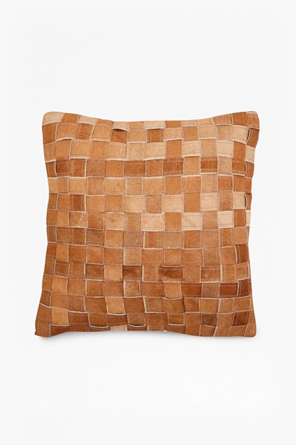 Basket Weave Hide Cushion