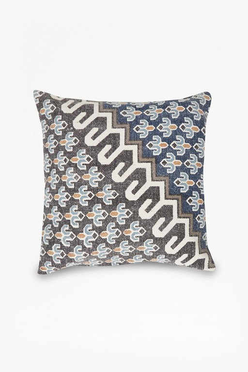 blue poppy field cushion