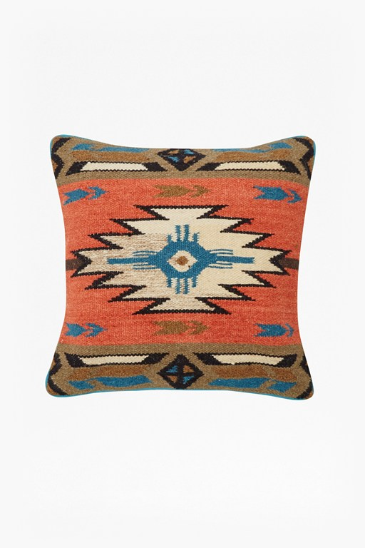Complete the Look Orange & Green Tribal Patterned Cushion