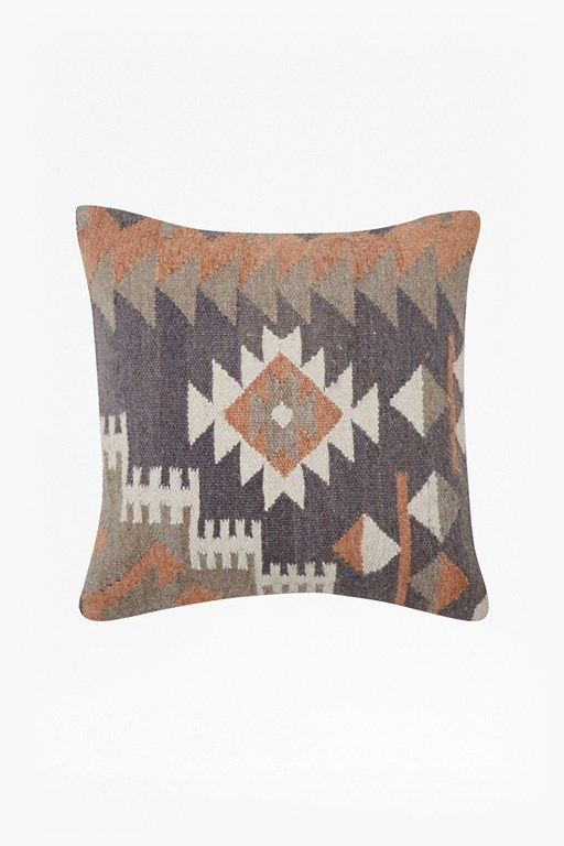 ochre & grey tribal patterned cushion