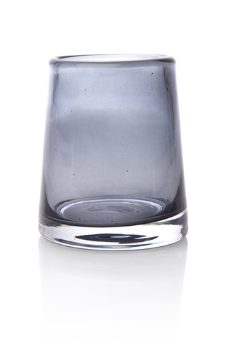 Grey Glass Small Tealight Holder