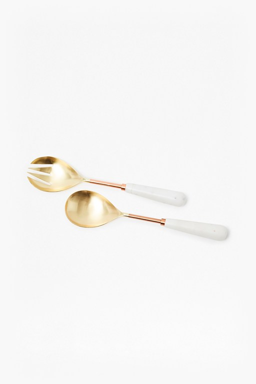 Complete the Look Copper & Marble Salad Servers