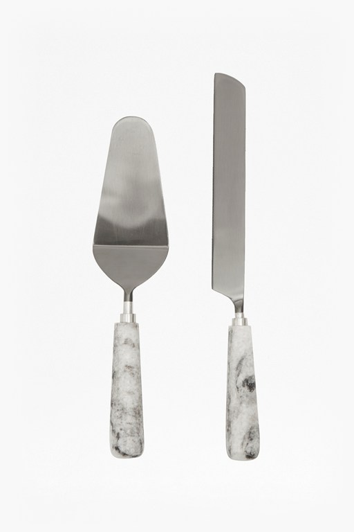 grey marble cake knife and server