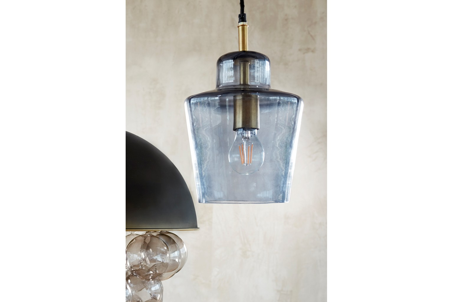 Smoked Ceiling Lamp - smoked glass