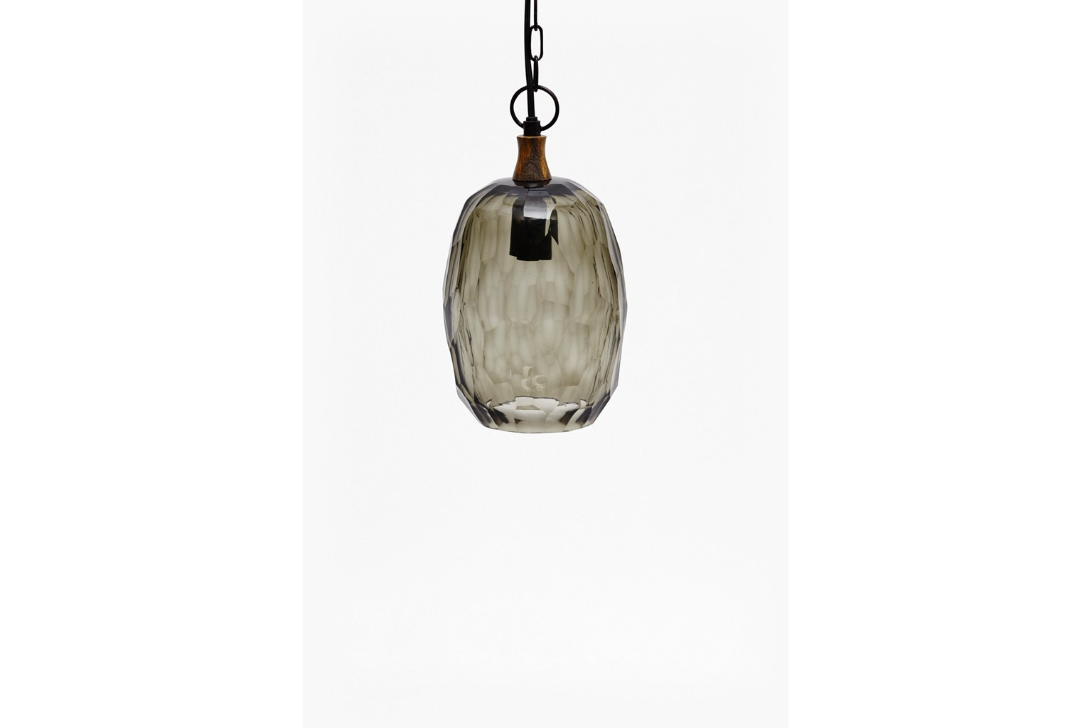 Thick Cut Glass Ceiling Lamp - light grey