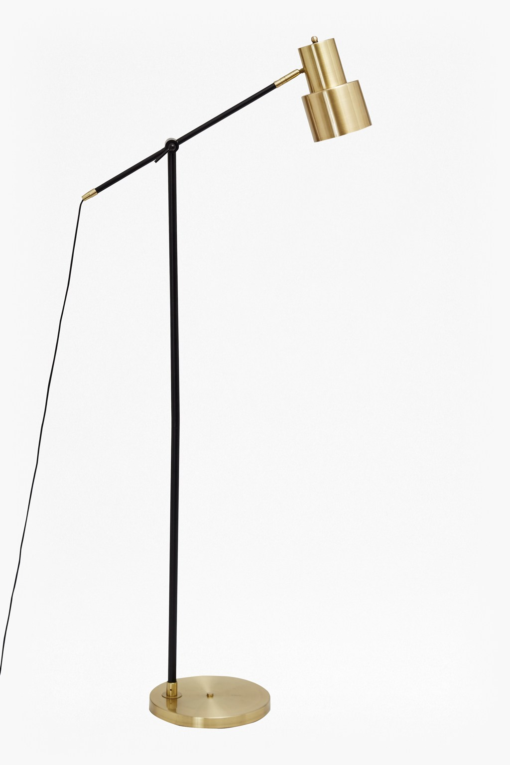 Brass and matte black floor lamp collection french for Off set floor lamp