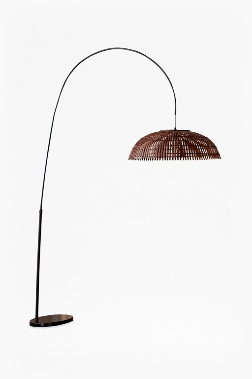 wooden pendant arc floorlamp