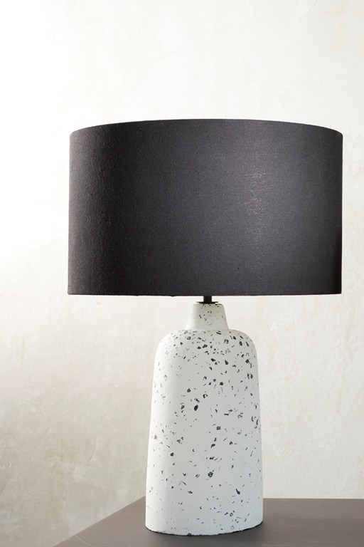 black and white stoneware lamp