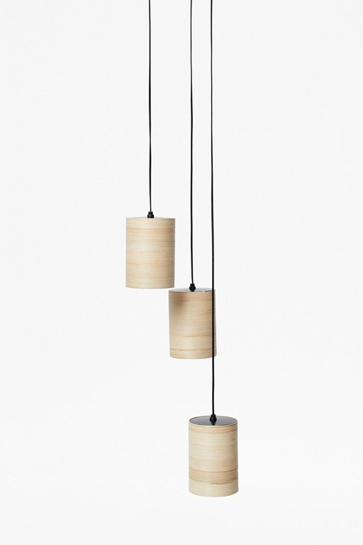 3 drop woven rattan ceiling light