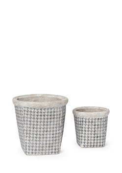 Set of Two Houndstooth Pots