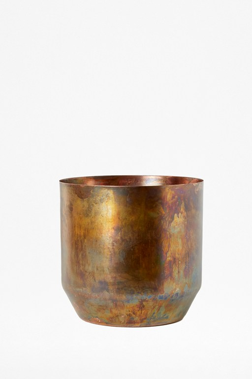 medium molten copper indoor planter