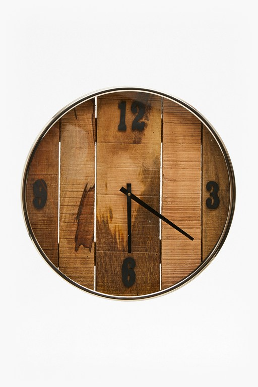 wooden slatted clock