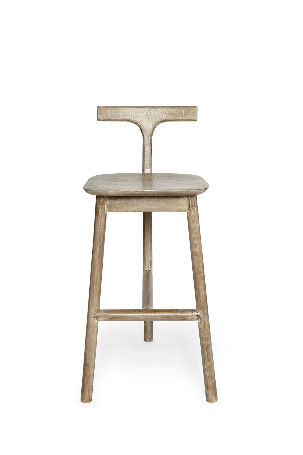 salvage wood t back bar stool home old season french connection. Black Bedroom Furniture Sets. Home Design Ideas