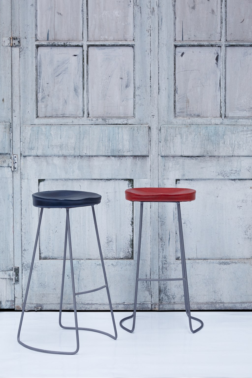 Navy Roger Bar Stool Leather Seat | Collection | French Connection