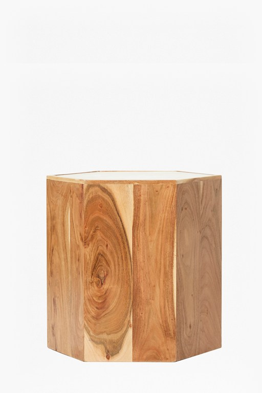 marble and acacia side table