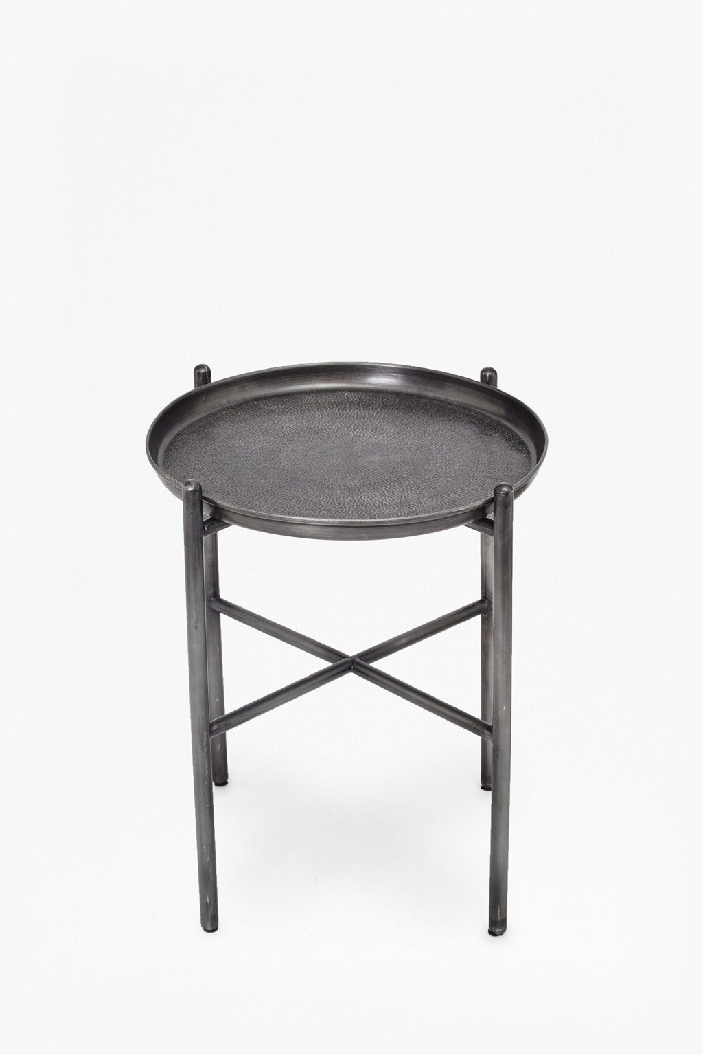 Hammered metal side table loading images