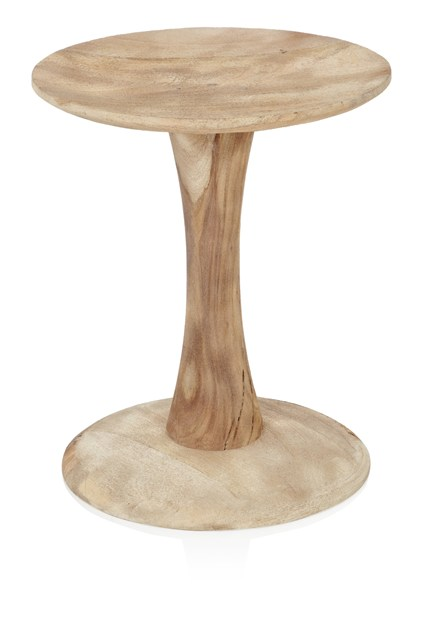 Natural Sandblasted Spool Side Table