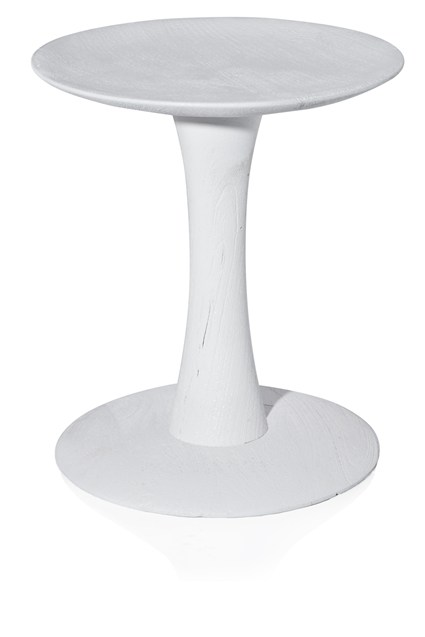 White Sandblasted Spool Side Table