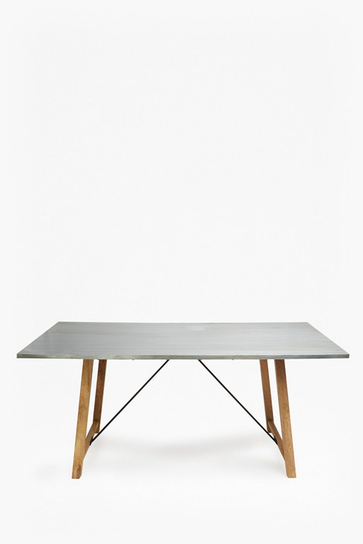 zinc rectangle dining table