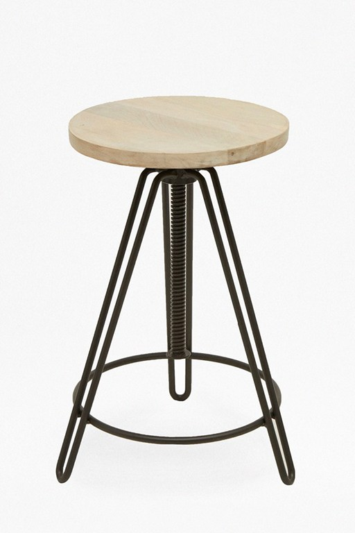 blonde industrial bar stool