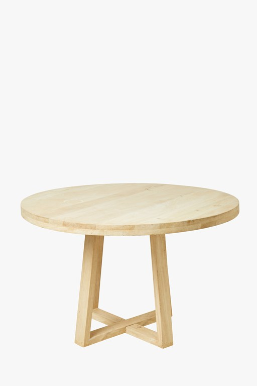 blonde round dining table