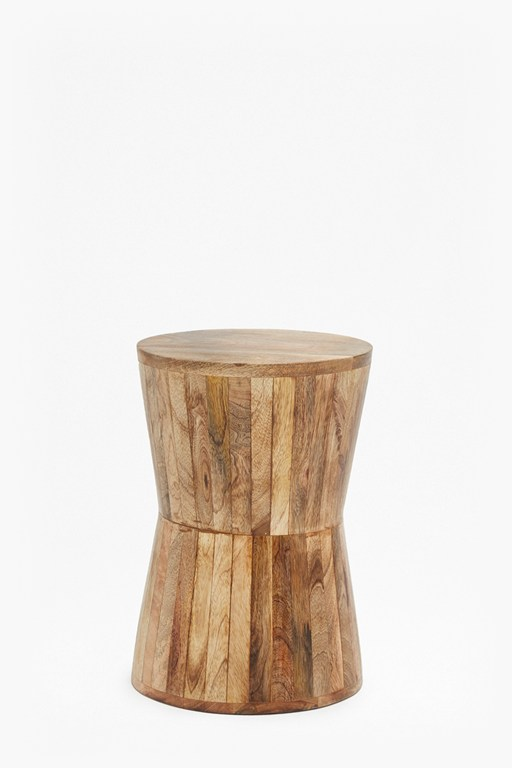 angled mango wood side table