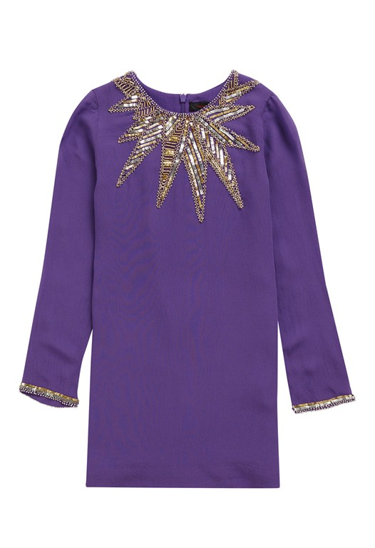 French Connection Embellished Shift Dress Purple